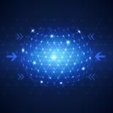 Αφηρημένο σφαιρικό υπόβαθρο έννοιας τεχνολογίας επιχειρησιακών δικτύων Στοκ Φωτογραφία
