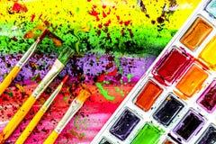 Αφηρημένο σχέδιο με τις πολύχρωμες ελαιογραφίες με τις βούρτσες te Στοκ Εικόνα