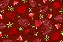 Αφηρημένο σχέδιο υποβάθρου, φύλλων και λουλουδιών στο κόκκινο χρώμα τόνου Στοκ Εικόνες