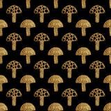 Αφηρημένο σχέδιο μανιταριών Χρυσό θλιμμένο άνευ ραφής υπόβαθρο χεριών Στοκ Εικόνα