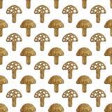 Αφηρημένο σχέδιο μανιταριών Χρυσό θλιμμένο άνευ ραφής υπόβαθρο χεριών Στοκ Εικόνες