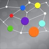 Αφηρημένο σχέδιο με τους κύκλους χρώματος και τις άσπρες γραμμές Στοκ Φωτογραφία
