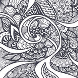 Αφηρημένο σχέδιο στο Μαύρο ύφους της Zen -Zen-doodle Zen-σύγχυσης στο λευκό Στοκ Εικόνα