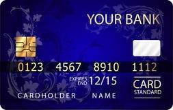 Αφηρημένο σχέδιο της πιστωτικής κάρτας με το floral σχέδιο Στοκ Εικόνες
