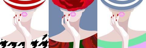 Αφηρημένο σχέδιο τρία watercolor γυναίκα στο καπέλο, φόρεμα Στοκ Εικόνες