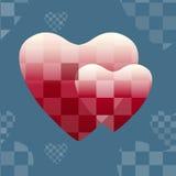 Αφηρημένο σχέδιο δύο κόκκινες καρδιές απεικόνιση αποθεμάτων