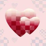 Αφηρημένο σχέδιο δύο κόκκινες καρδιές διανυσματική απεικόνιση