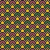 Αφηρημένο σύγχρονο άνευ ραφής σχέδιο τέχνης εικονοκυττάρου στα αποκορεσμένα χρώματα στοκ φωτογραφία