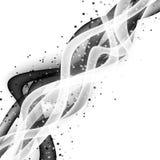 Αφηρημένο σύγχρονο σχεδιάγραμμα κυμάτων με τη φρέσκια άσπρη μαύρη αντίθεση swoosh στοκ εικόνα