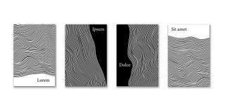 Αφηρημένο σύνολο σχεδίου κάλυψης Διανυσματικά μονοχρωματικά πρότυπα κάλυψης εμβλημάτων, αφισών ή καρτών Στοκ Εικόνες