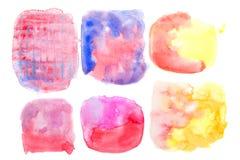 Αφηρημένο σύνολο σύστασης watercolor στο άσπρο υπόβαθρο Στοκ εικόνες με δικαίωμα ελεύθερης χρήσης