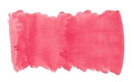 Αφηρημένο σύστασης βουρτσών μελανιού χρώμα παφλασμών watercolor aquarell υποβάθρου κόκκινο ρόδινο στο άσπρο υπόβαθρο Στοκ Φωτογραφία