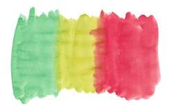 Αφηρημένο σύστασης βουρτσών μελανιού χρώμα παφλασμών watercolor aquarell υποβάθρου πολύχρωμο στο άσπρο υπόβαθρο Στοκ Εικόνες