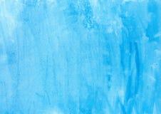 Αφηρημένο σύστασης βουρτσών μελανιού χρώμα χεριών παφλασμών watercolor aquarel υποβάθρου μπλε στο άσπρο υπόβαθρο Στοκ Εικόνες