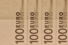Αφηρημένο τεμάχιο το τραπεζογραμμάτιο 100 ευρώ Στοκ φωτογραφία με δικαίωμα ελεύθερης χρήσης