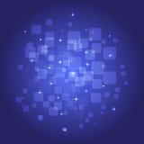 Αφηρημένο τετραγωνικό μπλε υπόβαθρο με τα λαμπρά στοιχεία Στοκ Φωτογραφίες