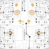 Αφηρημένο τεχνολογικό υπόβαθρο με τα διάφορα στοιχεία Στοκ εικόνα με δικαίωμα ελεύθερης χρήσης