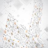Αφηρημένο τεχνολογικό υπόβαθρο με τα διάφορα στοιχεία Στοκ Φωτογραφίες