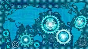 Αφηρημένο τεχνολογικό υπόβαθρο με τους μηχανισμούς εργαλείων παγκόσμιων χαρτών και μηχανών των μπλε και άσπρων σκιών Στοκ εικόνες με δικαίωμα ελεύθερης χρήσης