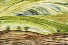 Αφηρημένο τοπίο με τον τομέα και δέντρα στους πράσινους τόνους στοκ εικόνες