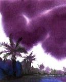 αφηρημένο τοπίο Τα σκοτεινά θυελλώδη σύννεφα επάνω από την τροπική ακτή δίνουν τη συρμένη απεικόνιση watercolor σε υγρό κατασκευα ελεύθερη απεικόνιση δικαιώματος