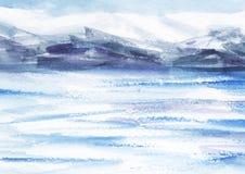 Αφηρημένο τοπίο Watercolor Τομείς πάγου, κρύα βουνά ελαφρύς νεφελώδης ουρανός Χέρι που επισύρεται την προσοχή σε μια απεικόνιση ε απεικόνιση αποθεμάτων