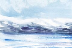 Αφηρημένο τοπίο Watercolor Τομείς πάγου, κρύα βουνά ελαφρύς νεφελώδης ουρανός Χέρι που επισύρεται την προσοχή σε μια απεικόνιση ε ελεύθερη απεικόνιση δικαιώματος