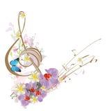 Αφηρημένο τριπλό clef με τα τροπικά φύλλα και τα λουλούδια ελεύθερη απεικόνιση δικαιώματος