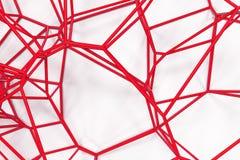 Αφηρημένο τρισδιάστατο δικτυωτό πλέγμα voronoi στο άσπρο υπόβαθρο Στοκ Εικόνες