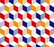 Αφηρημένο τρισδιάστατο ριγωτό γεωμετρικό άνευ ραφής σχέδιο κύβων κόκκινους μπλε σε κίτρινο και το λευκό, διάνυσμα Στοκ Εικόνες