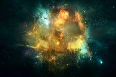 Αφηρημένο τρομερό τεχνητό πολύχρωμο ομαλό έργο τέχνης γαλαξιών νεφελώματος απεικόνιση αποθεμάτων