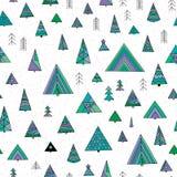 Αφηρημένο τυποποιημένο άνευ ραφής σχέδιο δέντρων έλατου Στοκ Εικόνες