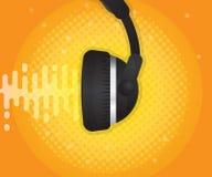 Αφηρημένο υγιές κύμα με το ακουστικό και το ημίτονο υπόβαθρο ελεύθερη απεικόνιση δικαιώματος