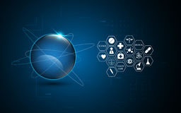 Αφηρημένο υπόβαθρο έννοιας καινοτομίας υγειονομικής περίθαλψης τεχνολογίας δικτύωσης σφαιρικό Στοκ Φωτογραφίες