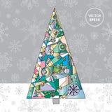 Αφηρημένο υπόβαθρο δέντρων έλατου Χριστουγέννων Συρμένη χέρι χειμερινή απεικόνιση Στοκ Φωτογραφίες