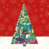 Αφηρημένο υπόβαθρο δέντρων έλατου Χριστουγέννων Συρμένη χέρι χειμερινή απεικόνιση Στοκ Εικόνες