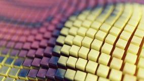 Αφηρημένο υπόβαθρο απεικόνισης, διπλωμένα, κυματιστά, πορφυρά, κίτρινα κιβώτια, τρισδιάστατη απόδοση διανυσματική απεικόνιση