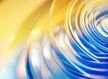 Αφηρημένο υπόβαθρο απεικόνισης, μπλε, κίτρινο, κύκλοι, τροχιές, τρισδιάστατη απόδοση ελεύθερη απεικόνιση δικαιώματος