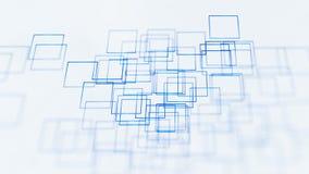 Αφηρημένο υπόβαθρο απεικόνισης, μπλε, τετράγωνα, στην άσπρη τρισδιάστατη απόδοση υποβάθρου διανυσματική απεικόνιση