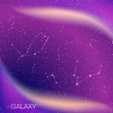 Αφηρημένο υπόβαθρο γαλαξιών με τους αστερισμούς αστεριών, το γαλακτώδη τρόπο, τη αίσθηση μαγείας, το νεφέλωμα και τα φωτεινά λάμπ Στοκ Εικόνες