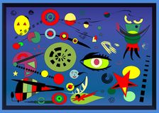 Αφηρημένο υπόβαθρο, γαλλικός ζωγράφος Miro ` ύφους Στοκ εικόνες με δικαίωμα ελεύθερης χρήσης