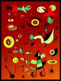 Αφηρημένο υπόβαθρο, γαλλικός ζωγράφος Miro ` ύφους Στοκ Εικόνα