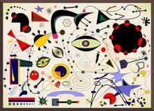 Αφηρημένο υπόβαθρο, γαλλικός ζωγράφος Miro ` ύφους Στοκ φωτογραφίες με δικαίωμα ελεύθερης χρήσης