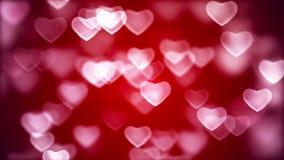Αφηρημένο υπόβαθρο ημέρας βαλεντίνου, πετώντας καρδιές φιλμ μικρού μήκους