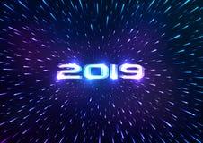 Αφηρημένο υπόβαθρο καλής χρονιάς του 2019 abstract background space Πέταγμα μέσω του υπερδιαστήματος επίσης corel σύρετε το διάνυ απεικόνιση αποθεμάτων