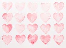 Αφηρημένο υπόβαθρο καρδιών watercolor Αγάπη έννοιας, ευχετήρια κάρτα ημέρας βαλεντίνων στοκ φωτογραφία με δικαίωμα ελεύθερης χρήσης