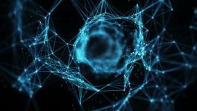 Αφηρημένο υπόβαθρο κινήσεων - ένα πέταγμα μέσω του ψηφιακού βρόχου μεταλλινών σηράγγων άλφα