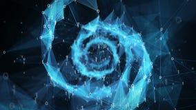 Αφηρημένο υπόβαθρο κινήσεων - ψηφιακός δυαδικός σπειροειδής 4k βρόχος DNA πλεγμάτων πολυγώνων διανυσματική απεικόνιση
