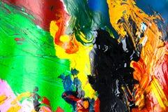 Αφηρημένο υπόβαθρο κινηματογραφήσεων σε πρώτο πλάνο ελαιοχρωμάτων πολύχρωμο άνωθεν Στοκ εικόνες με δικαίωμα ελεύθερης χρήσης