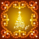 Αφηρημένο υπόβαθρο κυμάτων με το χριστουγεννιάτικο δέντρο Απεικόνιση στα χρυσά και άσπρα χρώματα Στοκ Εικόνες